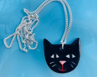 Black Cat Ceramic Pendant.Porcelain Cat Pendant.Cat lover gift.Animal Jewellery.Handmade Ceramic Jewellery.Cats Head Pendant.