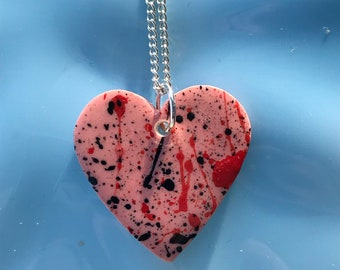 Large Pink heart pendant necklace.Ceramic/Porcelain .love Heart Necklace.Romantic gift.Love Token.Valentines.Handmade in Wales,Uk.