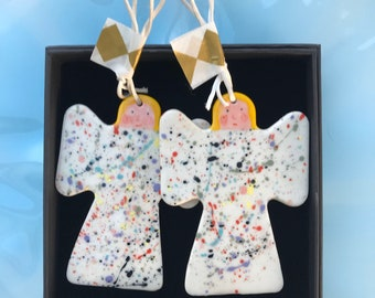 Angels Christmas Tree Decoration set.Two Angels Hanging Porcelain Decorations.Handmade.Christmas gift set .