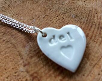 Del Ceramic Heart Pendant.Del/Treasure.Welsh Love Heart Necklace .Porcelain Heart Pendant.Gift idea Handmade .Made in Wales,Uk.