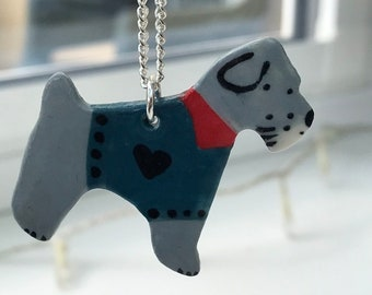 Schnauzer Dog pendant necklace .Ceramic/Porcelain .Dog lover gift Necklace.Handmade in Wales,Uk.