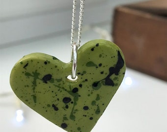 Green Ceramic Heart Pendant.Love Heart Necklace .Porcelain green Heart Pendant.Gift idea Handmade .Made in Wales,Uk.