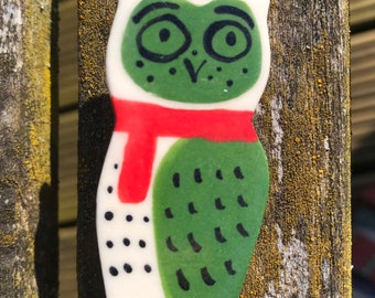 Owl Brooch/pin/button/badge.Ceramic/Porcelain.Large green Owl .Cute animal jewellery.Handmade in Wales ,Uk