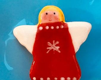 Christmas Angel Ceramic Badge.Red Angel Brooch.Porcelain badge.Stocking filler.Christmas Gift idea.Handmade in Wales,Uk