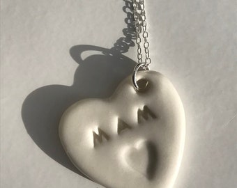 Mam Ceramic Heart Sterling Silver Pendant.Welsh Love Heart Necklace .Porcelain Heart.Mam/Mum .Gift idea.Handmade.Wales,Uk
