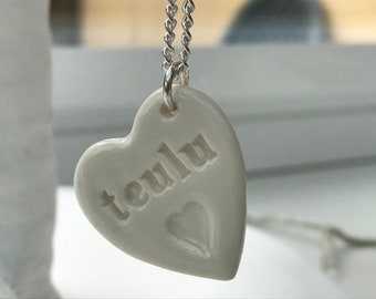 Teulu Ceramic Heart Pendant.Teulu/Family Welsh Love Heart Necklace .Porcelain Heart Pendant.Gift idea Handmade .Made in Wales,Uk.