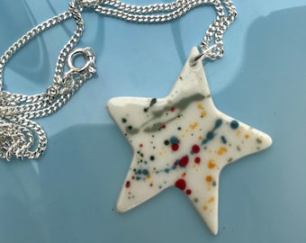 White Star ceramic pendant necklace.Star Pendant.Porcelain Necklace.ceramic jewellery.Handmade in Wales,Uk.