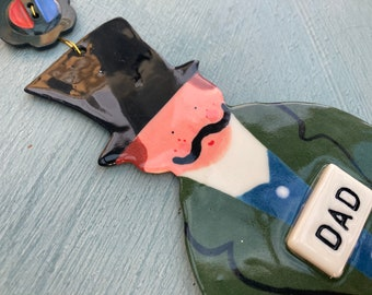 Large Welsh Dad Decoration.Hanging Ceramic Welsh Man.Cymraeg.Welsh gift.Ceramic Decoration.Gift for dad.Made in Wales