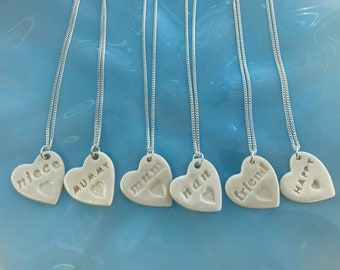 Mummy,Mum,Nan,Friend,Niece,Happy Ceramic Heart Pendant.Love Heart Necklace .Porcelain Heart Pendant.Gift for family/friend.Handmade