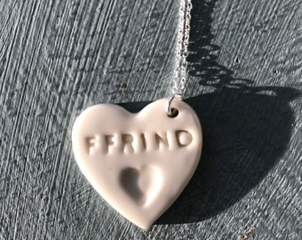Ffrind Ceramic Heart Sterling Silver Pendant.Welsh Love Heart Necklace .Porcelain Heart.Friend/Ffrind .Gift idea.Handmade.Wales,Uk