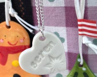 Seren Ceramic Heart Pendant.Welsh Love Heart Necklace .Porcelain Heart.Seren/Star.Gift idea.Handmade.Wales,Uk