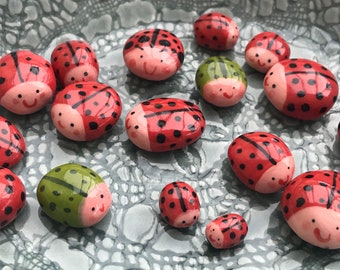 Ceramic ladybird figures.group of 2 and 3 small ladybird desktop ornaments.Ladybird/ladybug.Handmade Porcelain mini ornaments.