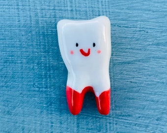 Tooth Ornament.Smiley Tooth Gift.Desktop Fun tooth figure.Smiley tooth with blood. Handmade ceramics