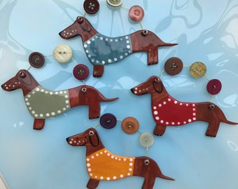 Daschund  Decoration.Hanging Ceramic Decoration/ornament.Christmas Tree Decoration.Daschie lover.Wiener dog.Handmade in uk