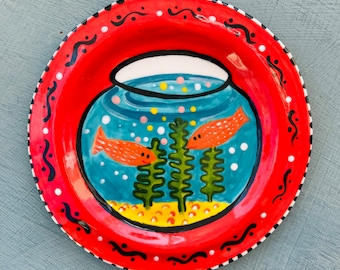 Decorative Goldfish Bowl wall Hanging ceramic plate. Handmade Porcelain mounted plate.Home decor.Fun house warming gift.Quirky gift.