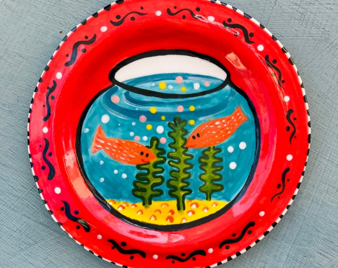 Featured listing image: Decorative Goldfish Bowl wall Hanging ceramic plate. Handmade Porcelain mounted plate.Home decor.Fun house warming gift.Quirky gift.