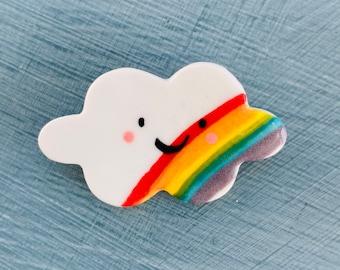 Little Rainbow Cloud Brooch/pin/button/badge.Ceramic/Porcelain.Cloud.Rainbow Jewellery Porcelain jewellery.Handmade in Wales ,Uk