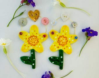 Porcelain Daffodil Decoration .Yellow Daffodil/Flower/Hanging Ceramic Daffodil/Ceramic Decoration/Mothers Day/Easter/Birthday Gift.