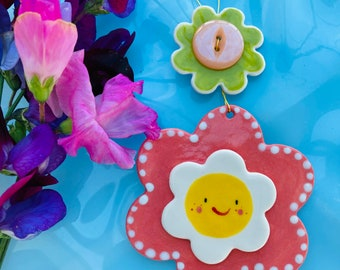 Flower Decoration.Hanging Ceramic Decoration/ornament.Handmade pink and white happy flower hanging decoration.Porcelain Housewarming  gift.