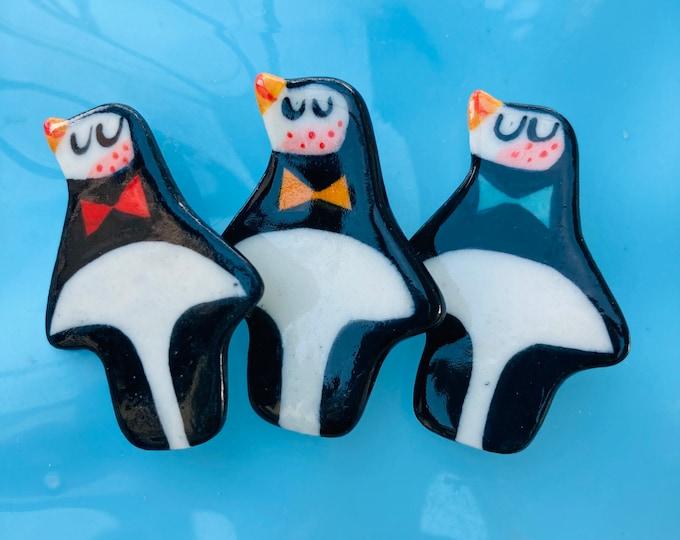 Featured listing image: Penguin Badge.Animal Jewellery .Stocking filler.Porcelain christmas badge.Handmade in wales uk