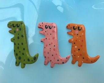 T Rex Brooch/pin/button/badge.Ceramic/Porcelain Dinosaur Badge.Animal Jewellery.Gift for boy.Handmade in Wales ,Uk