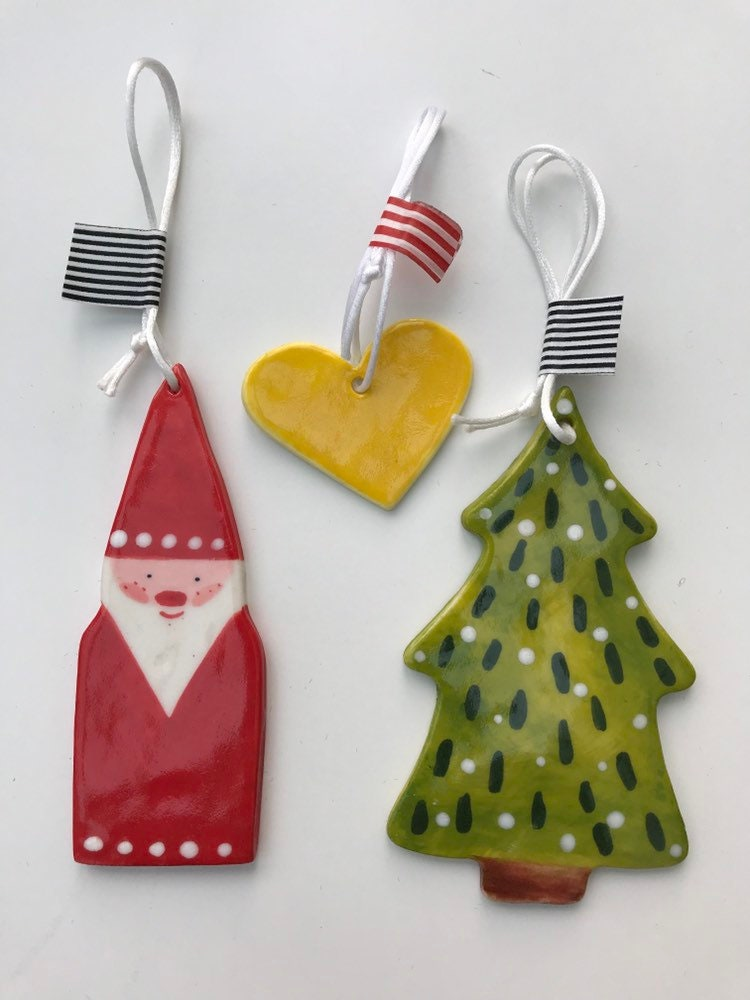 Ceramic Christmas Tree Decorations.Christmas Tree Decoration Set Father Christmas Snowy Tree