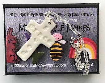 Porcelain Cross Pendant Necklace.Cross Pendant .Christian gift.Ceramic Cross Necklace.Handmade in Wales.