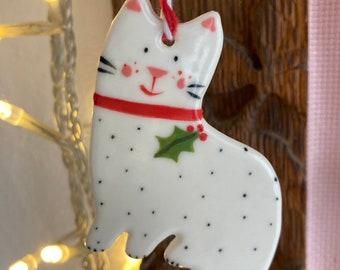 Christmas Cat Decoration.Hanging Ceramic Cat Decoration/ornament.Christmas Tree Decoration.White Cat Ornament.