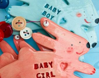 Baby Girl or Boy Rabbit Decoration/Hanging Porcelain Rabbit/Ceramic Decoration.Christening Gift/Baby Boy/Baby Girl Nursery Decoration