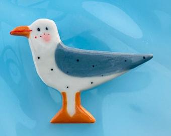 Seagull Badge.Seagull Brooch/Seabird.pin/button/badge.Ceramic/Porcelain .Bird badge/bird jewellery.Handmade in Wales,Uk
