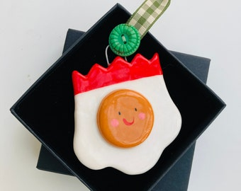 Christmas Party Fried Egg.Ceramic Fried Egg Ornament.Fun Party Fried Egg Decoration Cute gift .Handmade in Wales ,Uk