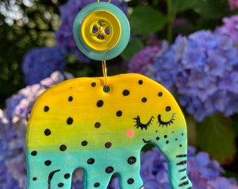 Elephant Decoration.Hanging Ceramic turquoise/yellow Elephant  Ceramic Decoration/ornament.Porcelain ornament/Made in Wales,Uk