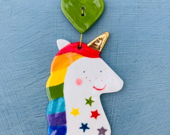 Rainbow Unicorn Decoration.Hanging Ceramic Decoration/gold lustre ornament.Handmade Porcelain Unicorn .Gift for Girl.Magical creature.
