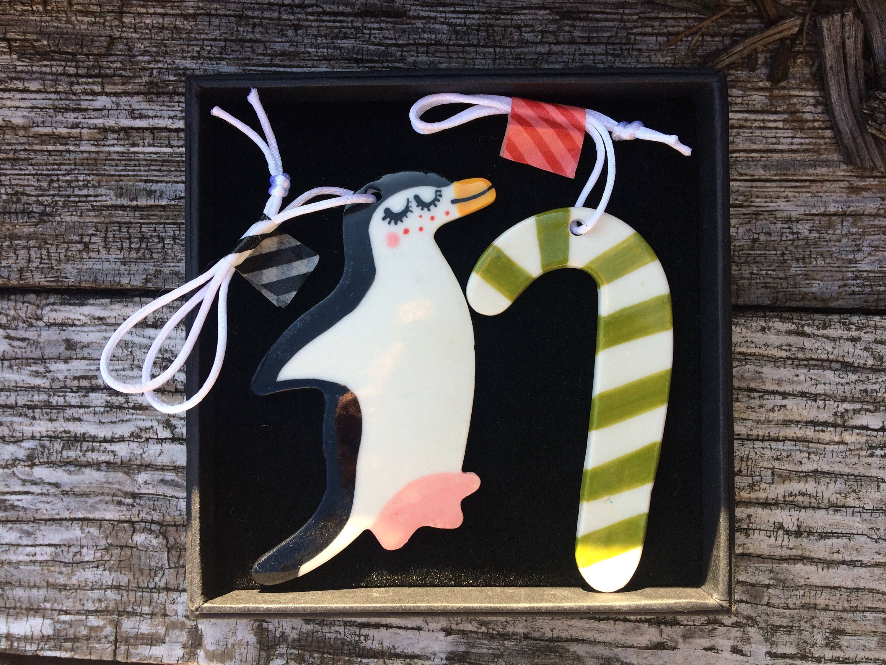 penguin and candy cane ceramic decorationsporcelain christmas tree ornamentchristmas decorationskitsch decorationshandmade in wales uk