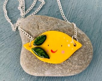 Lemon Pendant .Porcelain lemon pendant.Cute fun fruit jewellery gift .Handmade ceramic jewellery.