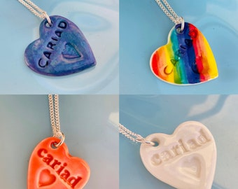 Cariad Ceramic Heart Pendant.Cariad/My love Wales.Welsh Love Heart Necklace .Porcelain Heart Pendant.Gift idea Handmade in Wales,Uk