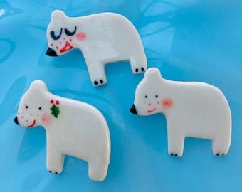 Polar Bear Brooch/pin/button/badge.Christmas Badge l/stocking filler .Gift/Ceramic /Porcelain.Christmas jewellery /animal jewellery.Handmade