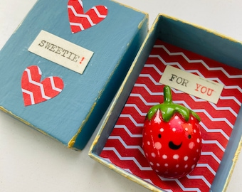 Ceramic Strawberry.Mini Porcelain Strawberry figure.Handmade Cute fruit gift.To my Sweetie. Gift to daughter.