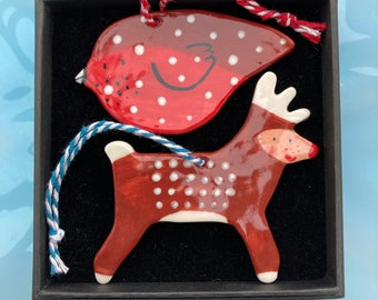 Reindeer and Robin Hanging Porcelain Decorations.Christmas decoration Gift Set.Christmas tree decorations/ornaments.Handmade ceramic.