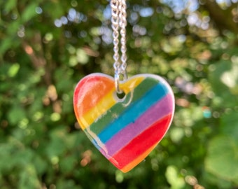 Rainbow heart ceramic pendant necklace.Rainbow heart Pendant.Porcelain Necklace.Romantic gift.Handmade in Wales,Uk.
