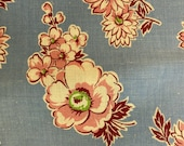 Floral Feedsack Vintage 1940s Cotton Material Pink and White on Blue Fabric Remnant
