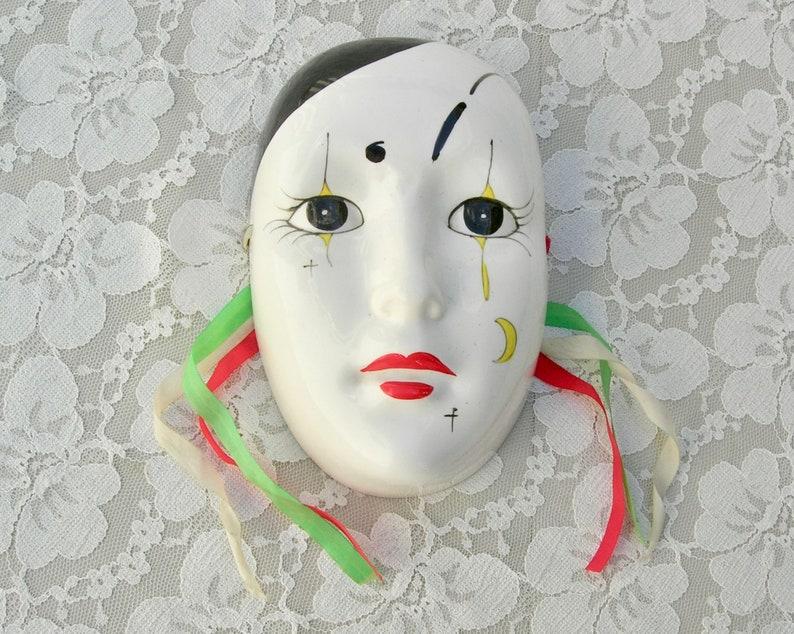 Vintage Mardi Gras design Ceramic  FACE MASK 3 1//4 inch high