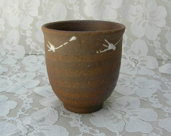 Rustic Japanese Teacup, wood fired, white glaze designs, possibly Bizen or Echizen ware, I purchased in Japan