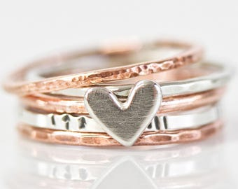 Heart Ring Set / Stacking Rings / Mothers Day Gift / Stackable Rings / Love Gift / Rustic Rings / Anniversary Gift / Gift For Her