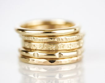 Go Boldly Textured Stacking Rings In Yellow Gold / Textured Rings / Stacking Rings / Textured Jewelry / Gifts For Her / Yellow Gold Filled