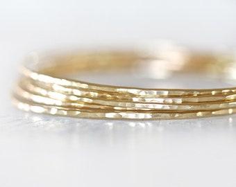 Gold Bangles / Stacking Bangles / Gold Bracelets / Hand Hammered / Unique / Fashion Trend / Gold Trending / Fine Metal Bangles / Stack