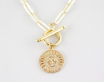 Sol Medallion Toggle Necklace / Toggle Necklace / Spring Jewelry / Celestial Necklace / Gold Medallion Necklace / Handmade Jewelry