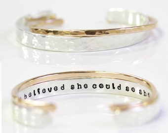 Graduation Gift / She Believed She Could So She Did / Inspirational Bracelet / Quote Bracelet / Birthday / Graduation / Cuff Set