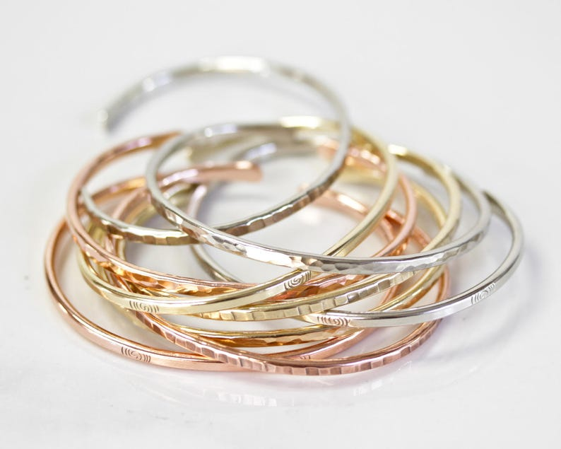 Stacking Bracelets  Glitzy Gold Silver Copper Stacking Cuffs  Textured Spring Skinnies  Fashion Forward  Hand Hammered  Handmade