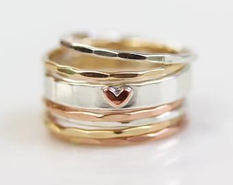 Stacking Rings / Christmas Gifts / Heart / Birthday Gift / Stackable Rings / Gift / Heart / Gift for Her / Wife Gift / Anniversary Gift